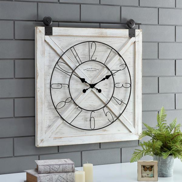 29 in. x 27 in. Farmstead Barn Door Clock