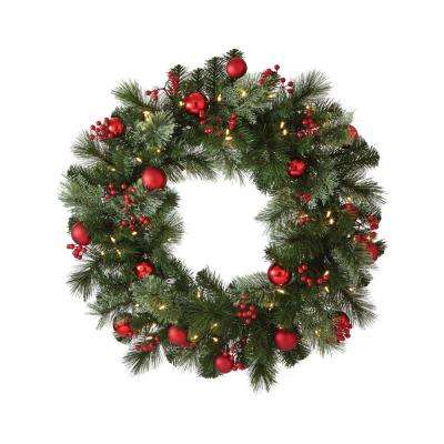 30 in. Artificial Christmas Wreath with Cedar and Pine