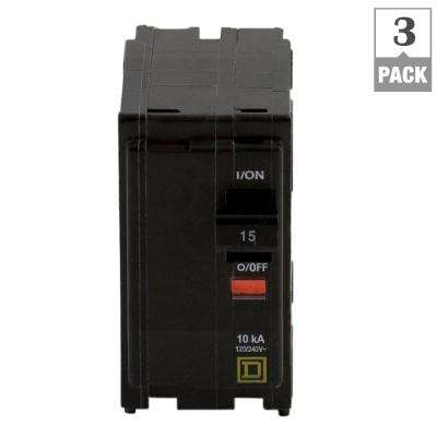 QO 15 Amp 2-Pole Circuit Breaker (3-Pack)