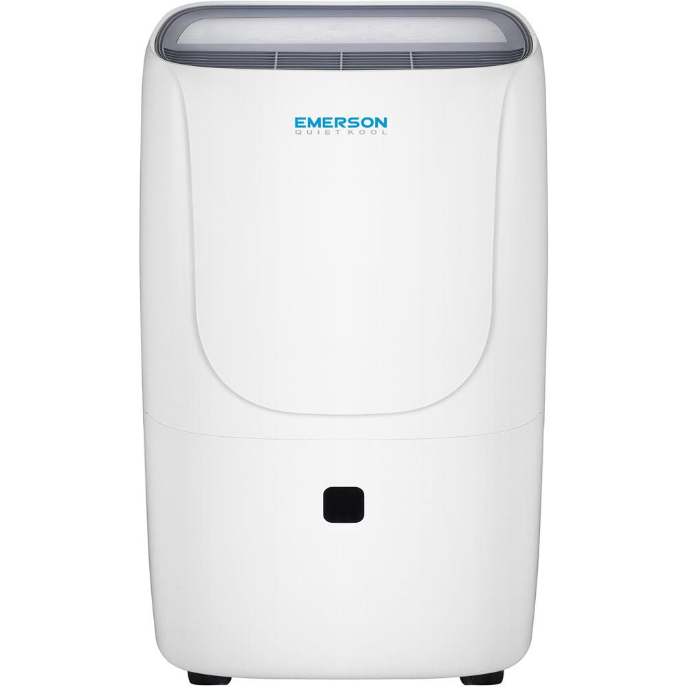 Emerson Quiet Kool 70-Pint Dehumidifier with Bucket, Whites The Emerson Quiet Kool 70-pint dehumidifier controls humidity levels in your home with a simple touch of a button. Removing up to 70 pints of moisture per 24 hours in an area up to 4500 sq. ft., it protects your home from mildew and mold caused by excess moisture. It also helps to remove harmful bacteria and allergens in the air that can make breathing difficult. Plus, you'll enjoy peace of mind with our 1-2-5 years' warranty: 1-year labor, 2-year parts and 5-year compressor. Stay healthy and comfortable with Emerson Quiet Kool dehumidifiers. Color: Whites.