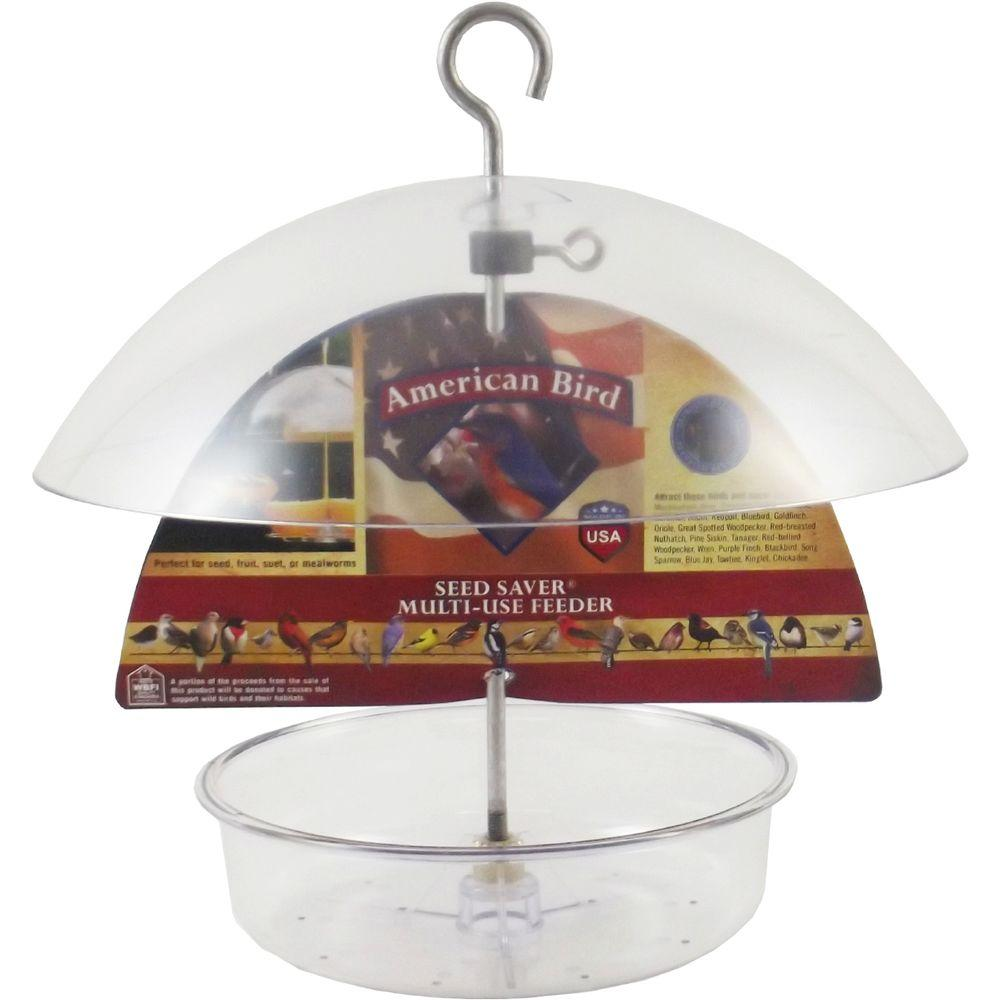 7 in. Tray American Bird Seed Saver Dish Feeder with 10