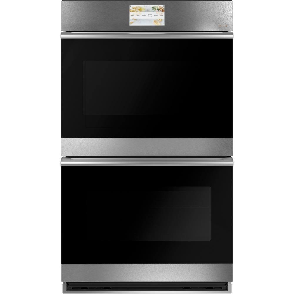 Cafe 30 in. Smart Double Electric Wall Oven with Convection Self-Cleaning in Platinum Glass