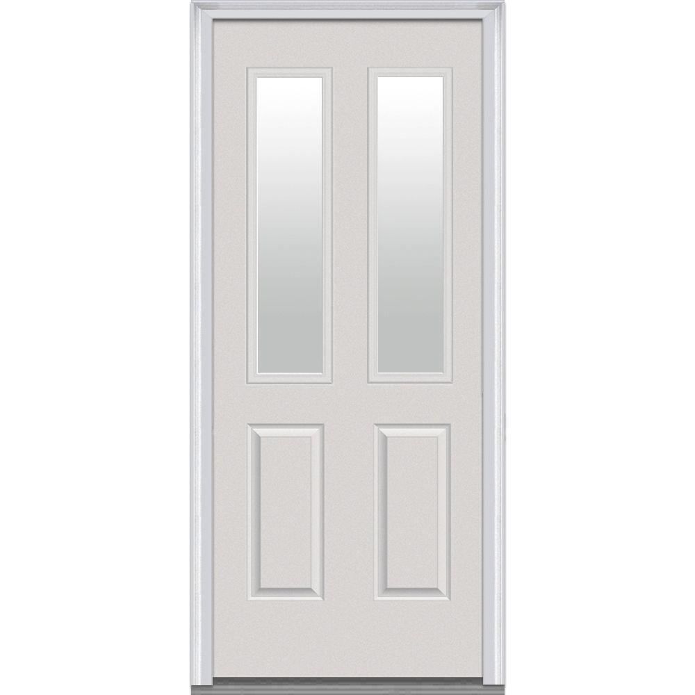 Exceptional MMI Door 34 In. X 80 In. Clear Right Hand 2 1/2 Lite 2 Panel Classic Primed  Fiberglass Smooth Prehung Front Door Z000296R   The Home Depot