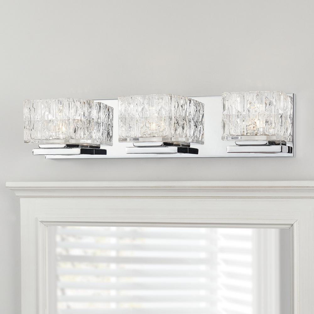 Tulianne 75-Watt Equivalent 3-Light Chrome LED Vanity Light with Clear Cube Glass