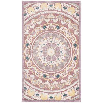Paradise Purple/Cream 3 ft. x 5 ft. Area Rug