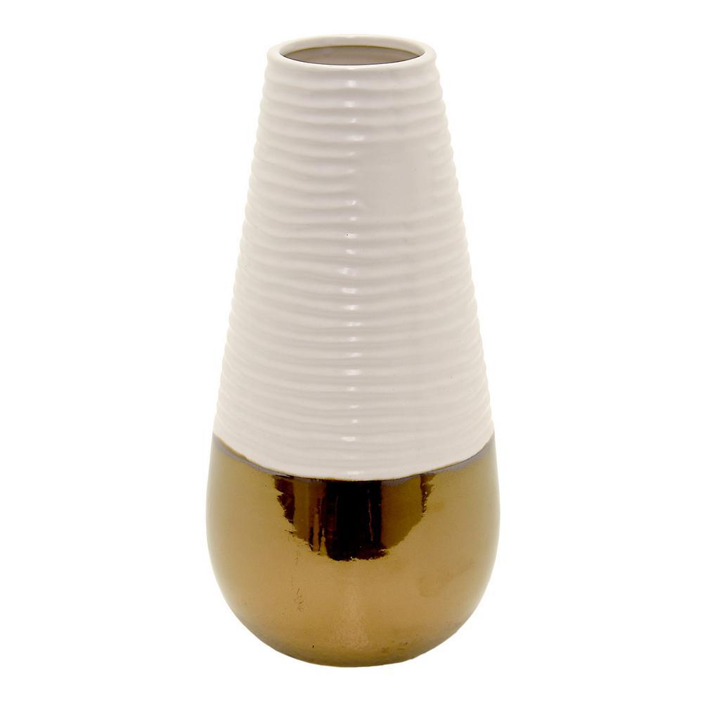 14.5 in. White 2-Tone Ceramic Decorative Vase