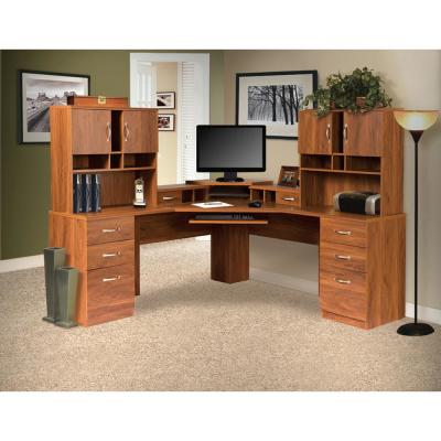 Brown Corner L-Work Center and 2-Hutches with Monitor Platform, Keyboard Shelf, 4-Box Drawers and 2-File Drawers
