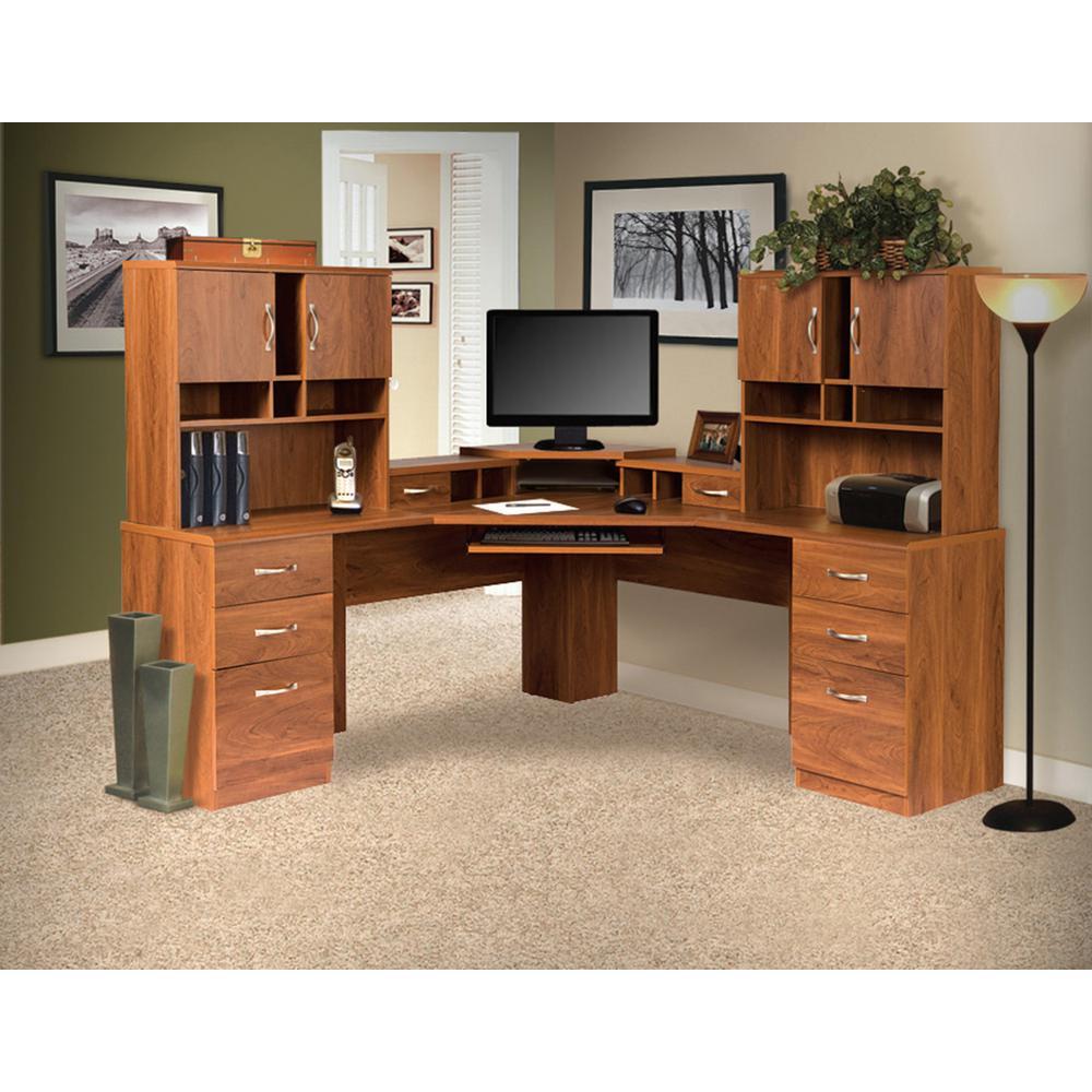 Brown corner l work center and 2 hutches with monitor platform keyboard shelf