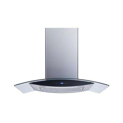 36 in. Convertible Kitchen Island Mount Range Hood in Stainless Steel with Tempered Glass, LED Lights and Touch Control