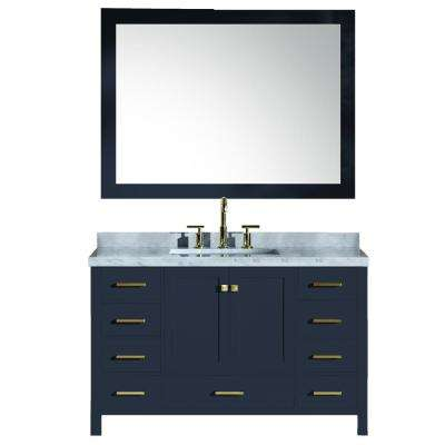 Cambridge 55 in. W x 22 in. D Vanity in Midnight Blue with Carrara Marble Top in White with White Basin and Mirror