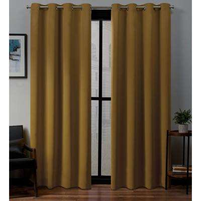 Sateen 52 in. W x 96 in. L Woven Blackout Grommet Top Curtain Panel in Honey Gold (2 Panels)