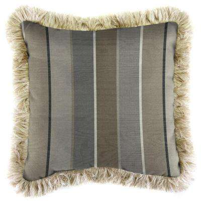 Sunbrella Milano Charcoal Square Outdoor Throw Pillow with Canvas Fringe
