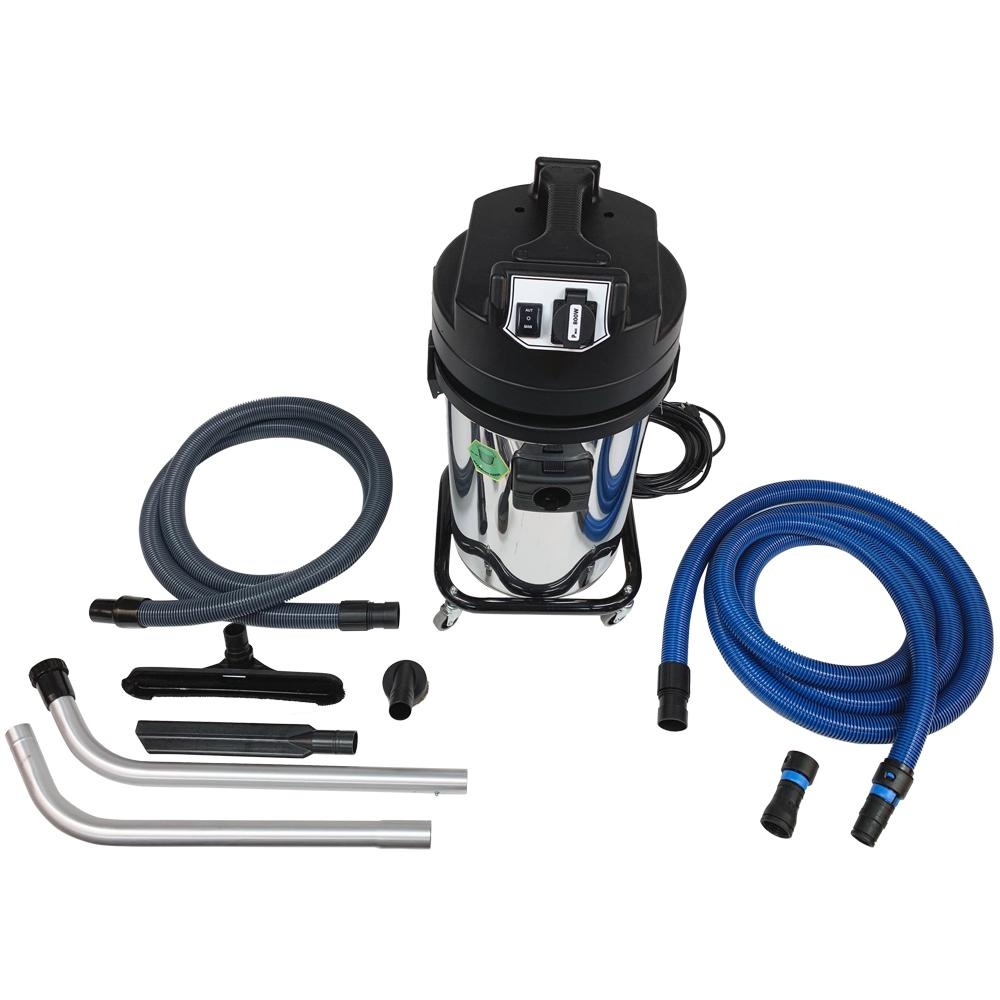 Cen-Tec Aura Canister Vacuum with Hepa Filter and Remote Power Tool Controller and Adapter Set for Contractors Cen-Tecs Aura 94423 is specified to permit the contractor, remodeler, builder, or woodworking professional to capture the dust and debris generated by power tools as the dust is being generated. The 94423 permits the power tool to be operated through the vacuum and as the power tool turns on, the vacuum operates to insure dust collection. When the power tool shuts off the vacuum continues to run for five seconds to clear the tool and hose and the automatic filter shaker activates for ten seconds to clean the nylon pre-filer and HEPA filter of fine dust. Also features a 16 ft. 1-1/4 in. x 1-1/2 in. conical electro-static dissipative (ESD) hose with three quick change tool adapters to fit to all major brands of power tools The Aura is a 6 Gal. HEPA dry vacuum designed for source capture of dust created by power tools, drywall sanding, masonry cutting, and wood working as the dust is generated to protect you and keep the worksite clean. The vacuum has a two stage by pass motor that provides 126.5 CFM of airflow and 94.5 in. of water lift. The plug on the control panel permits control of the vacuum through the power tool when the power tool is energized. The Aura has two primary levels of filtration for fine dust. A durable nylon filter bag surround and protects the HEPA filter from everything but very fine dust helping to preserve the HEPA filter. The second HEPA filter captures 99.997% of all dust 3 microns and larger.