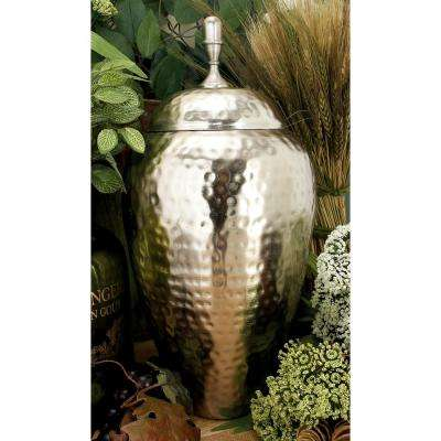 15 in. Silver Iron Urn-Type Decorative Jar with Lid