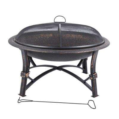 29 in. Round Iron Fire Pit in Black