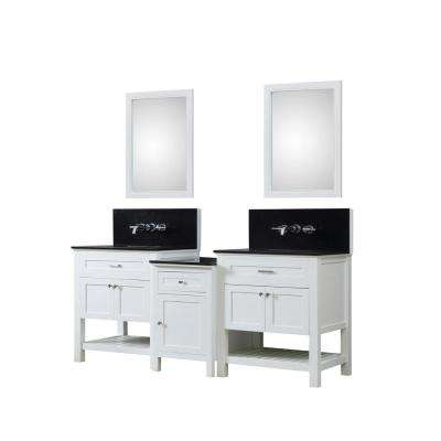 Preswick Premium Bath and Makeup 82 in. W Vanity in White with Granite Vanity Top in Black with White Basin and Mirrors