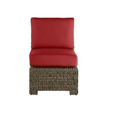 Laguna Point Brown Wicker Armless Middle Outdoor Patio Sectional Chair with CushionGuard Chili Red Cushions