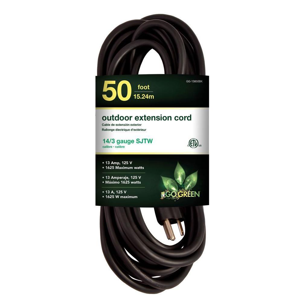 50 ft. 14/3 SJTW Outdoor Extension Cord, Black