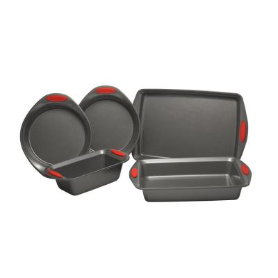 5-Piece Set Yum-o! Nonstick Oven Lovin' Bakeware Set, Gray with Red Handles