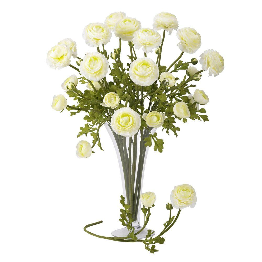 null 23 in. H White Ranunculus Stem (Set of 12)