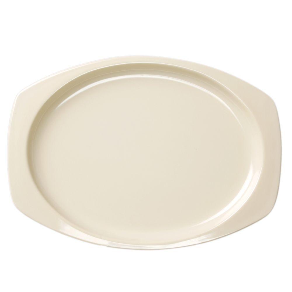 Restaurant Essentials Coleur 9-1/2 in. x 6-3/4 in. Recsaddleback Tangular Platter in Saddleback Tan (12-Piece)