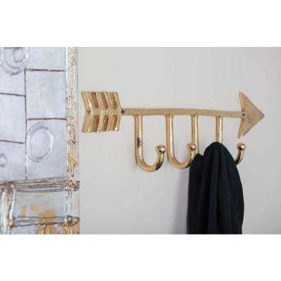 27 in. x 8 in. Modern Gold Aluminum Wall Hook
