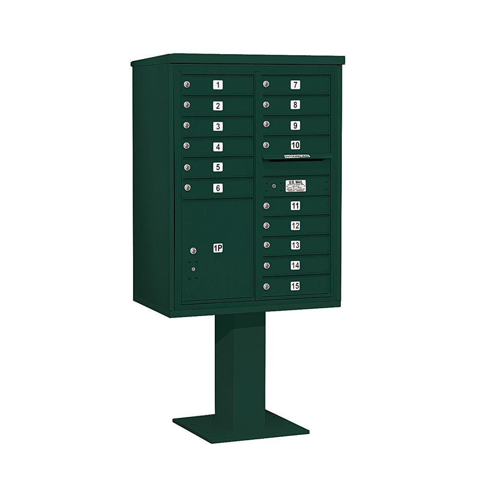 Salsbury Industries 3400 Series 69-1/8 in. 11 Door High Unit Green 4C Pedestal Mailbox with 15 MB1 Doors/1 PL5