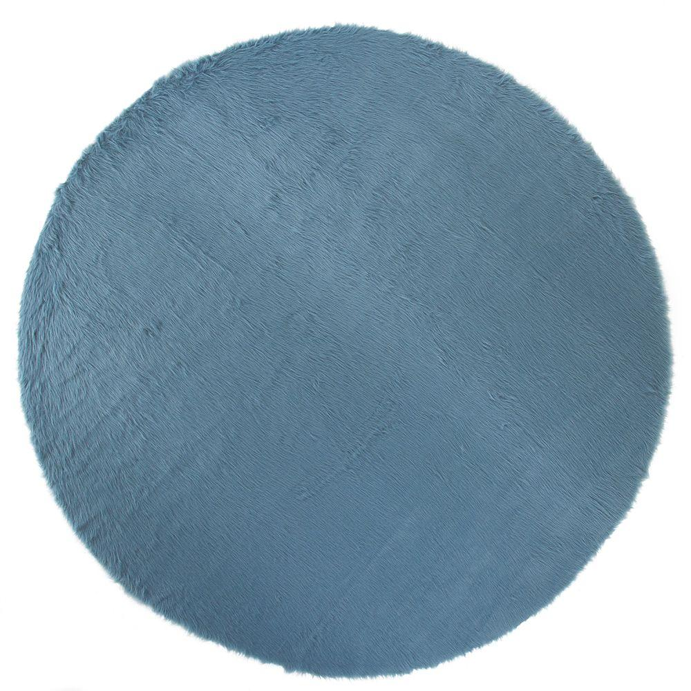 Faux Sheepskin Blue 8 ft. Round Area Rug