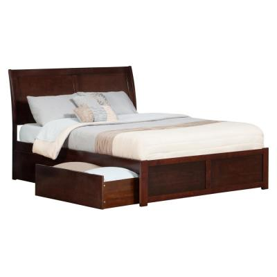 Portland Walnut King Platform Bed with Flat Panel Foot Board and 2-Urban Bed Drawers