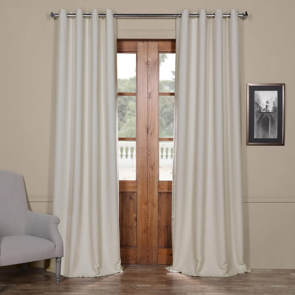 Semi-Opaque Oat Cream Bellino Grommet Blackout Curtain - 50 in. W x 120 in. L (Panel)