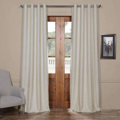 Semi-Opaque Cottage White Bellino Grommet Blackout Curtain - 50 in. W x 108 in. L (Panel)
