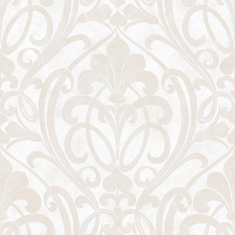 Zoe Snow Coco Damask Wallpaper Sample, White