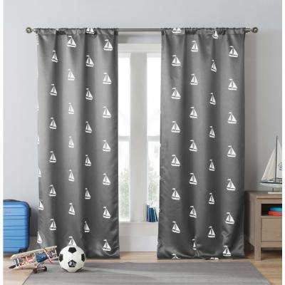 Print Grey Polyester Blackout Pole Top Window Curtain 39 in. W x 84 in. L (2-Pack)
