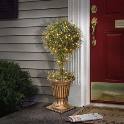 36 in. Mini Tea Leaf Potted Artificial Tree Topiary with 100 Clear Lights