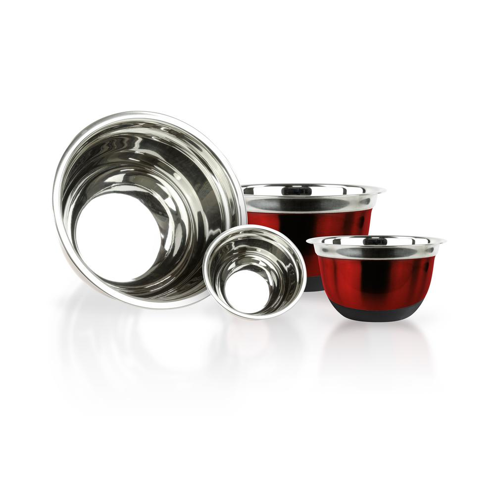 4-Piece Red Stainless Steel Mixing Bowls with Silicone Bottoms