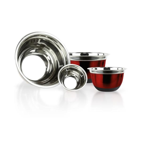 4-Piece Red Stainless Steel Mixing Bowls with Silicone Bottoms MW2881
