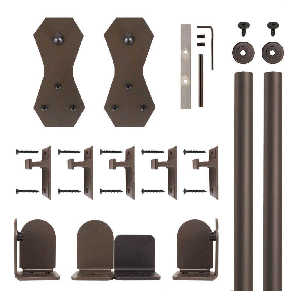Castle 2 Oil Rubbed Bronze Rolling Door Hardware Kit for 3/4 in. to 1-1/2 in. Door