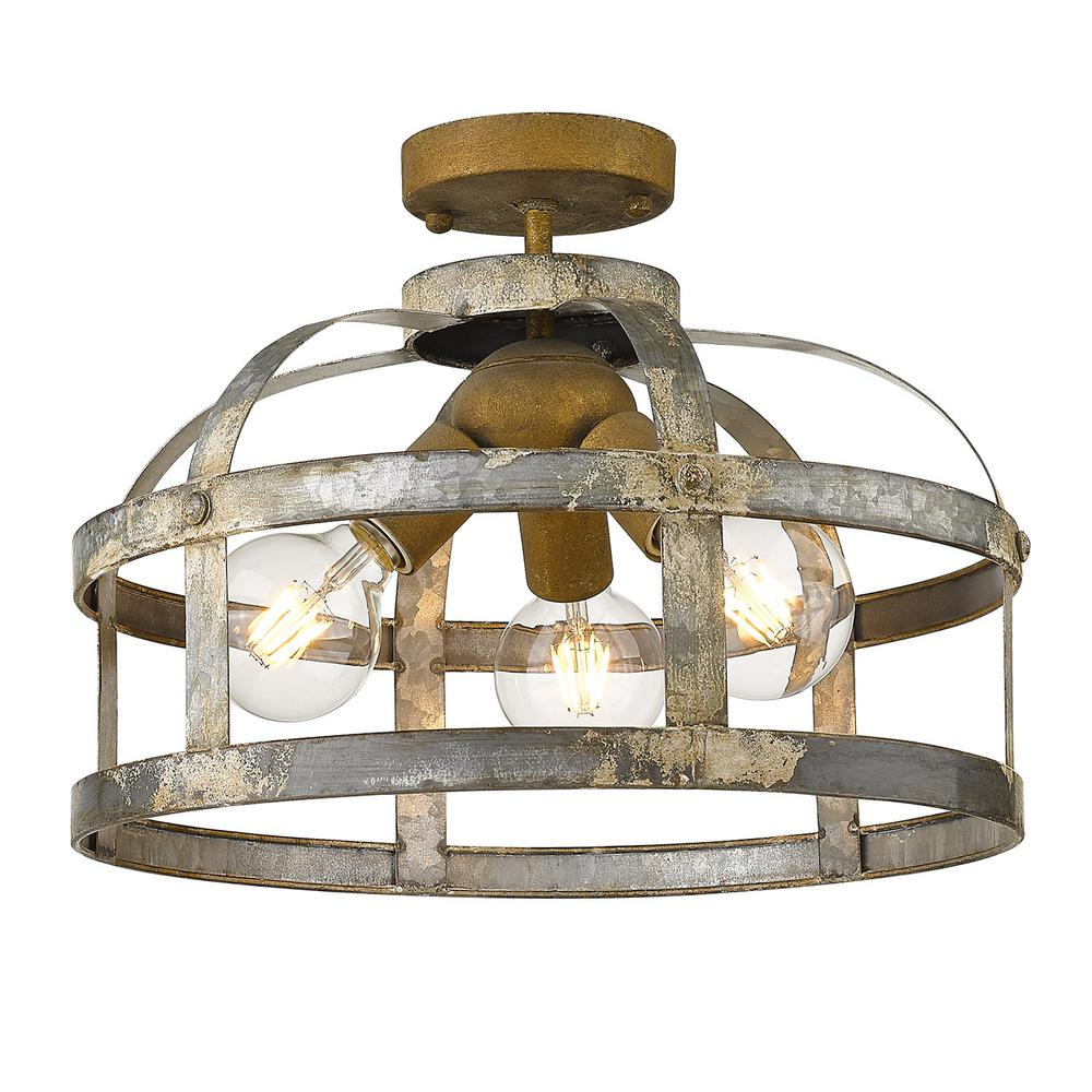 Golden Lighting Bavaria 15 875 In 3 Light Colonial Steel Semi Flush Mount