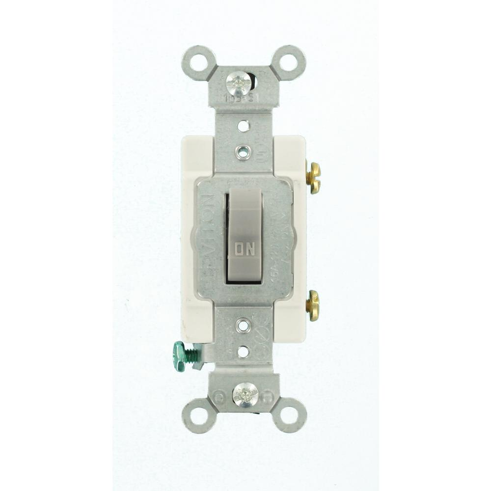 15 Amp Commercial Grade Single-Pole Back Wired Toggle Switch, Gray