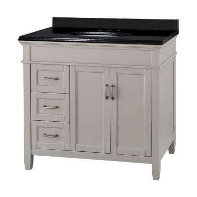 Ashburn 37 in. W x 22 in. D Vanity in Grey with Granite Vanity Top in Black with White Basin