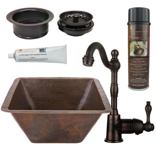 All-in-One Dual Mount Copper 17 in. Large Square Bar/Prep Sink with Faucet and Garbage Disposal Drain in ORB
