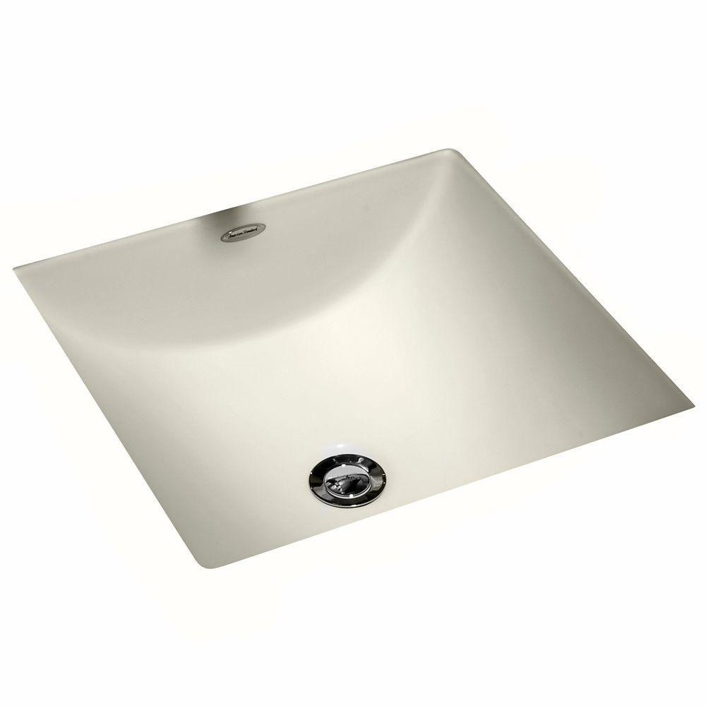American Standard Studio Carre Square Undercounter Bathroom Sink with Less  Faucet Deck in Linen