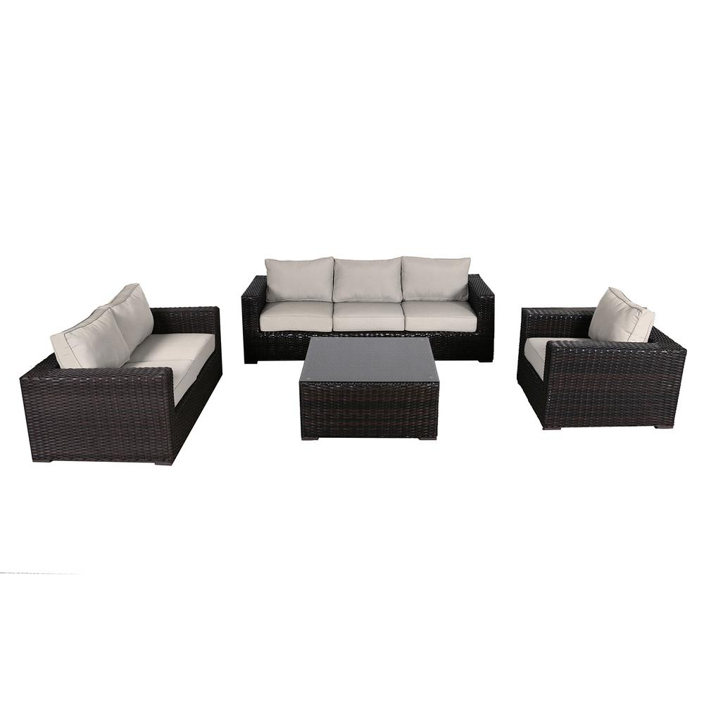 Groovy Envelor Santa Monica 4 Piece Wicker Patio Deep Seating Set With Fabric Tan Cushions Gmtry Best Dining Table And Chair Ideas Images Gmtryco