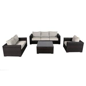 Tremendous Envelor Santa Monica 4 Piece Wicker Patio Deep Seating Set With Fabric Tan Cushions En T Smdsstan The Home Depot Gmtry Best Dining Table And Chair Ideas Images Gmtryco