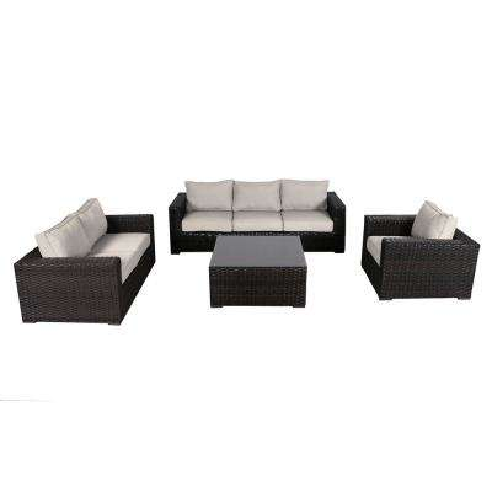 Santa Monica 4-Piece Wicker Patio Deep Seating Set with Fabric Tan Cushions