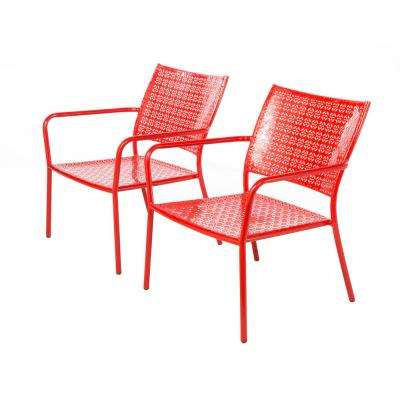 Martini 2-Piece Cherry Pie Red Stackable Metal Low Profile Outdoor Lounge Chairs