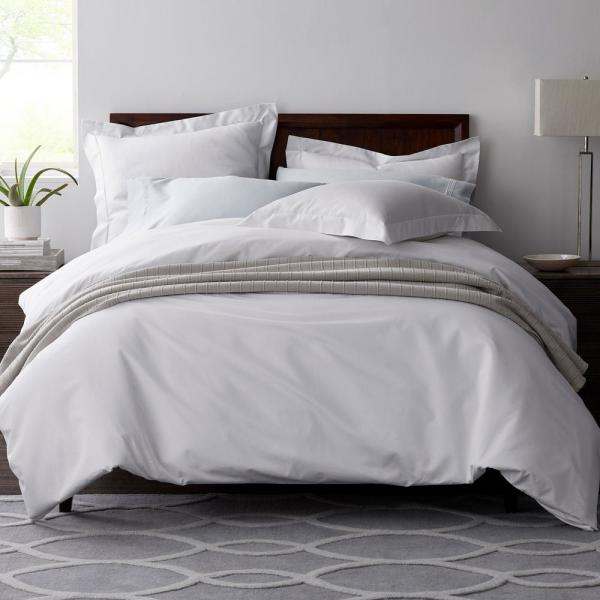 The Company Store Legends White Solid 600 Thread Count Egyptian Cotton Sateen Queen Fitted Sheet 50385b Q White The Home Depot