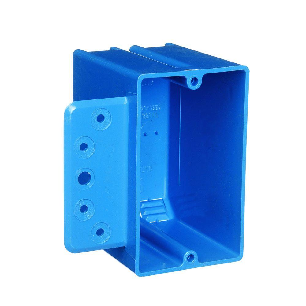 1-Gang 18 cu. in. Blue PVC New Work Switch and Outlet