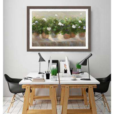 21 in. x 29 in. 'White Geraniums' by Danhui Nai Textured Paper Print Framed Wall Art
