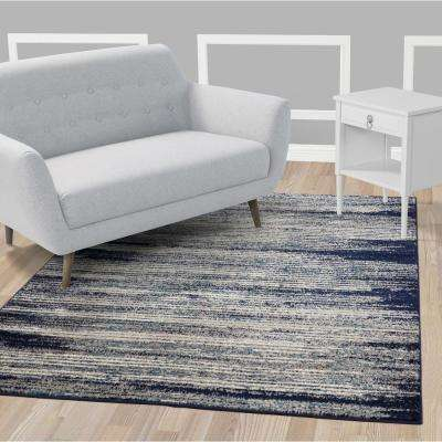 Jasmin Collection Navy and Ivory 2 ft. 7 in. x 9 ft. 10 in. Stripes Runner Rug